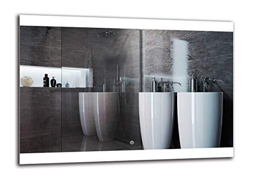 Espejo LED Deluxe - Dimensiones del Espejo 100x70 cm - Interruptor tactil - Espejo de baño con iluminación...