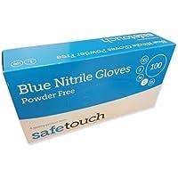Safetouch - Guantes de nitrilo sin polvo, color azul, caja de 100