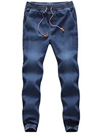 a9f5a8594d3fb ADESHOP Mode Pantalons, Hommes Pantalon De Jeans Casual Denim Couleur Pure  Taille éLastique Pied De
