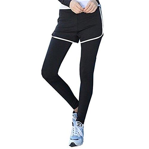DaBag Pantaloni Vita regular Elasticizzati Correre Jog Danza Palestra Athletic Stretti Fitness Pants Invernali Yoga Sport Donna Leggings nero-bianco