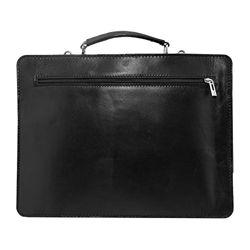Leather Briefcase, Valigetta in pelle / business / laptop bag con tracolla, mod. 2027-p (39 / 29 / 11 cm) Italia Nero (nero)