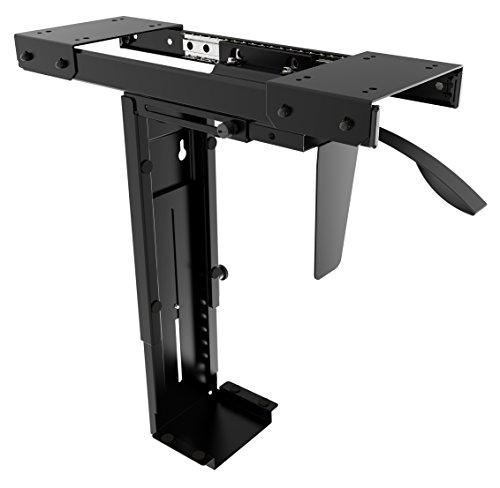RICOO Rechnerhalter Computerhalterung TRH-05 Lift Tischhalter Tischhalterung Gehäusehalter Untertischhalterung Vertikal / Schwarz Ausziehbar Drehbar Flexibel 360°