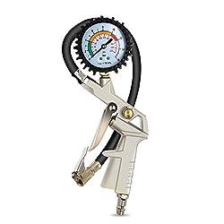 La pression des pneus est étroitement liée à la sécurité de conduite, il est donc important d'acheter une jauge de pneu professionnelle!   Mesure: PSI et BARS Vanne de purge à bouton-poussoir permettant des réglages précis 0 - 220 PSI (0 à 220 PSI à ...