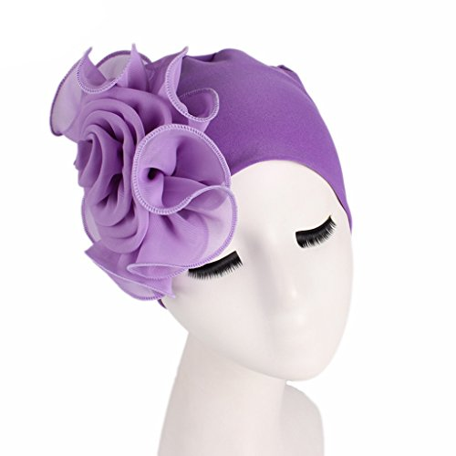 CADANIA Elastic Woman Beanie Bonnet Flower Large Hair Loss Cap for Women Bandanas Head Wrap Purple