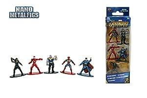 Jazwares-Nano metalfigs-Marvel Avengers Infinity War-Pack de 5Figuras de 4cm (Thanos Man, Iron Spider, Dr. Strange, Gamora), 99919