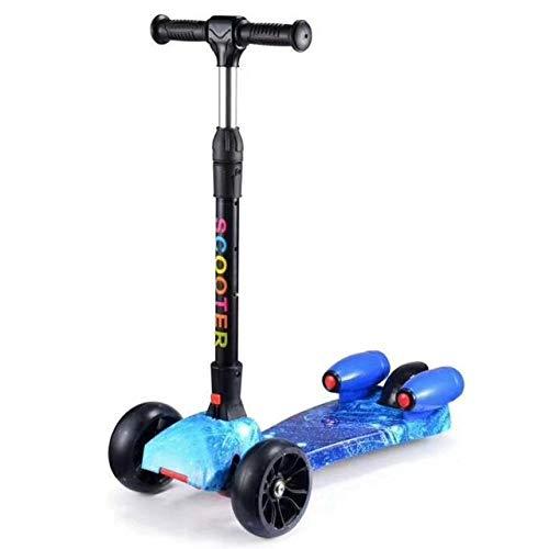 LQLQL Scooter per Bambini Scooter per Bambini a Tre Ruote Pieghevole con Funzione Spray Flash e Musica, Modello 4