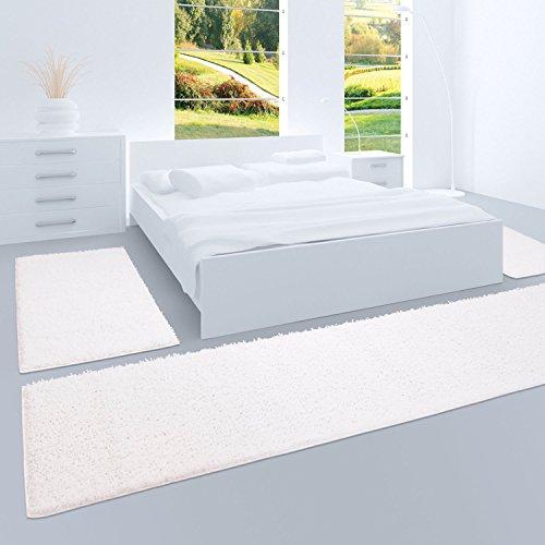 carpet city Shaggy Bettumrandung Hochflor-Teppiche in Weiß, Einfarbig für Schlafzimmer, 3-teiliges Läufer-Set: 2X 70x140 cm und 1x 70x250 cm