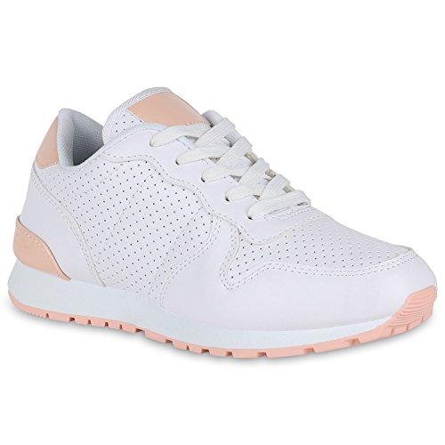 Glamour De Branca Corredores Sneakers Sapatos Tênis Metálica Pintura Perfuração Desporto Senhoras Rosa 4xq7gw4