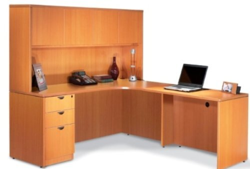 Offices to Go SL7136CER L Shaped Desk with Hutch American Cherry Left Corner by Offices To Go -