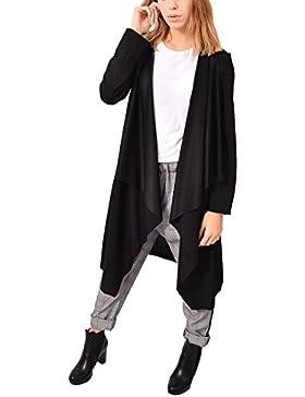 MADE IN ITALY Blazer Nero Lungo Poliestere Aperto Abbigliamento Moda Donna