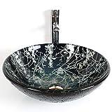 Waschbecken, Wash Basin Runde gehärtetem Glas Moderne Badezimmer Set Spüle