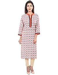 SVS Casual Straight Off-White-Red Printed Cotton Women's Kurta