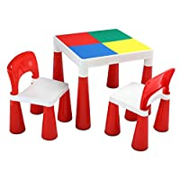 Liberty House Toys 2in1 Activity Table & 2 Chairs, Red/White, 51x51x43.2 cm