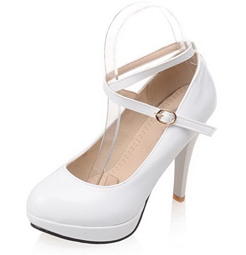 VogueZone009 Damen Lackleder Rund Zehe Hoher Absatz Schnalle Rein Pumps Schuhe Weiß