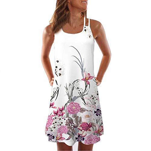 e Damen Frauen Lose Vintage Sleeveless 3D Blumendruck Bohe Casual Täglichen Party Strand Urlaub Tank Short Mini Kleid ()