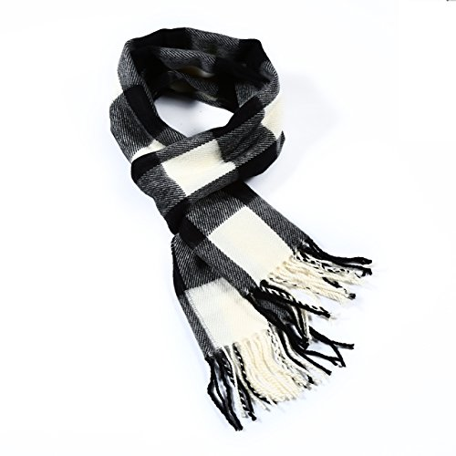 A.WAVE Softer than Cashmere Wool Touch Tassel Ends Plaid Check Solid Scarf (Buffalo Plaid Black and White) - Cool White Ferse
