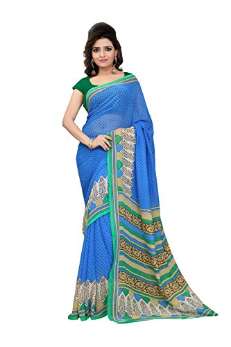 Fabdeal Blue Colored Bhagalpuri Silk Printed Saree  available at amazon for Rs.349