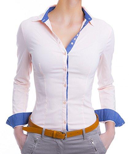 Damen Elegante Hemden Tailliert Figurbetonte Langarm Blusen Business (620), Farbe:Rosa, Größe:Medium