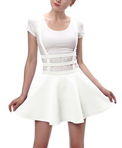Urbancoco Damen Mädchen A-line Träger Mini Plissiert Rock hosenträger Rock (L, weiß) (T-shirt Rock Damen)