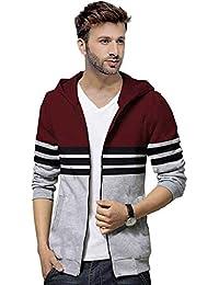 BLIVE Full Sleeve Striped Men's Hooded Zipper Jacket Maroon,Grey| Hoodies | Zipper Jacket