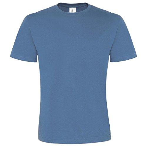 B & C Herren Casual Wear Baumwolle Tees TOP Short Sleeve Crew Neck Exact 190Shirt Blau - Stone Blue