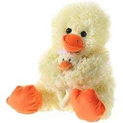 Heunec 863477Peluche–Pato con bebé, Sentado, Amarillo, 28cm