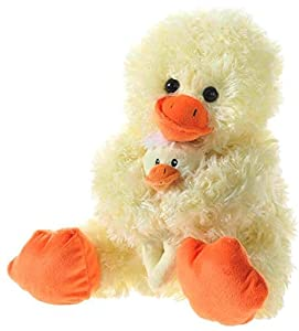 Heunec 863477Peluche-Pato con bebé, Sentado, Amarillo, 28cm