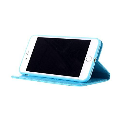 Handyhülle iPhone 7 Grau Leder Etui mit Lanyard ,Moon mood® Ledertasche Brieftasche für iPhone 7 (4.7 Zoll) ,PU Leder Hülle Wallet Case Folio Schutzhülle Scratch Schmetterling Blume Design Bumper Hand A-Blau