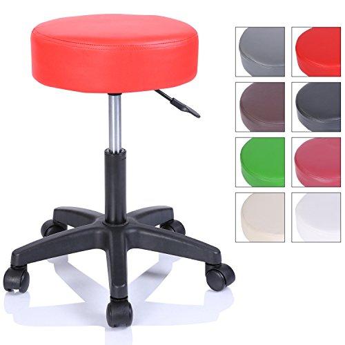TRESKO Rollhocker Arbeitshocker Hocker Drehhocker Kosmetikhocker Praxishocker höhenverstellbar mit Rollen, 360° drehbar, 10 cm Polsterfläche und 8 Farbvarianten (Rot)