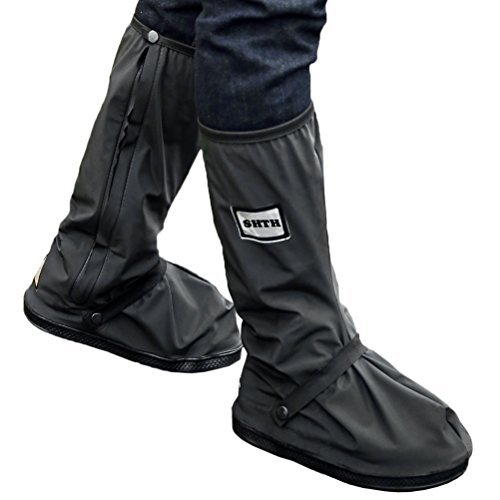 USHTH Black Waterproof Rain Boot Shoe Cover with reflector (1 Pair) (Black-S(10.8inch))