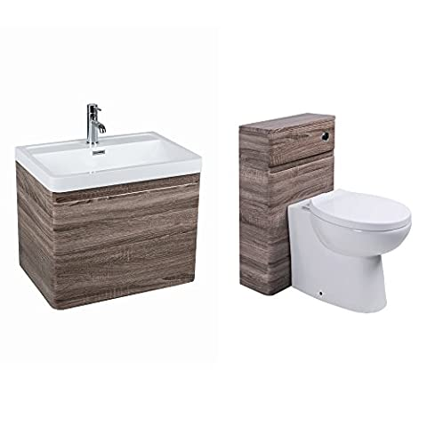 Oak 600mm Bathroom Vanity Unit Wall Mounted and Toilet Furniture Set