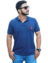 Mens Solid Polo Neck Blue Tshirt
