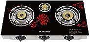 Sonashi Three Gas Burner Full Safety Glass (floral), Sgb-320gffd, Black