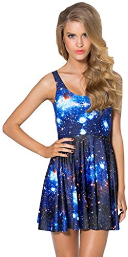 Stars Womens Short (THENICE Damen Mini Kleider Sleeveless Short Sommerkleid Strandkleid (Bright Star))