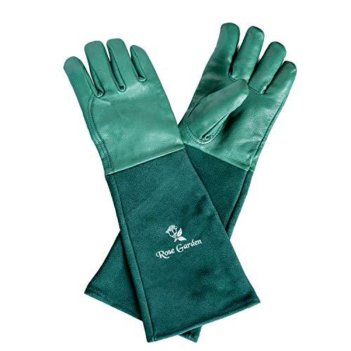 Damen & Herren Lang I Rosenhandschuhe Dornenfest Lang I Lederhandschuhe Arbeit Garten I Leder Handschuhe Lange Stulpe I Gr. 7 (S) Small ()