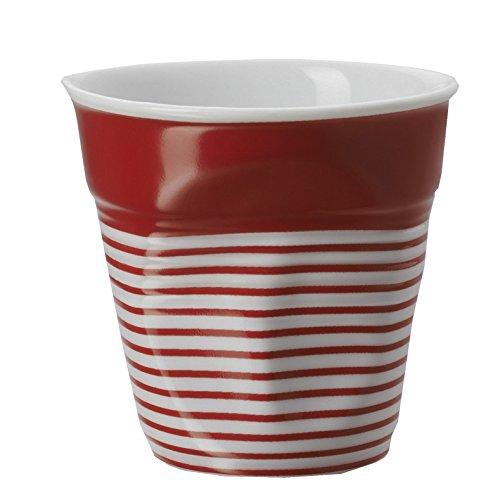 REVOL RV646078 Tasse Cappuccino Froissé 8, 5cm Porcelaine, Blanc/Rouge, 8.5 x 8.5 cm