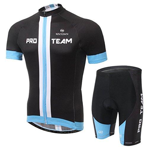 XINTOWN Conjunto de ciclismo para hombre secado rápido transpirable manga corta bicicleta conjunto con cojín 3D acolchado para ciclismo negro azul blanco, color Negro, tamaño M (büste:39.37 inch; taille:24.41 inch)