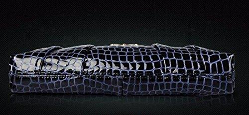 Klassisch Frauen Krokodil bowknot Partei Handabg Leder Schultertasche Umhaengetasche Blau