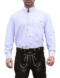 Trachtenhemd Hemd für Trachten Lederhosen Baumwolle edelweiß bestickt Weiß