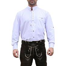 Trachtenhemd, trajes camisa para Lederhosen trajes de algodón bordado Edelweiss Blanca (L)