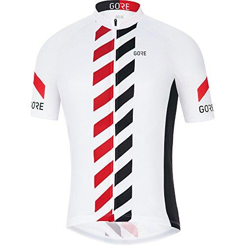 GORE Wear Atmungsaktives Herren Fahrrad-Kurzarmtrikot, GORE C3 Vertical Jersey, Größe: M, Farbe: Weiß/Rot, 100250 (Fahrrad Vertical)