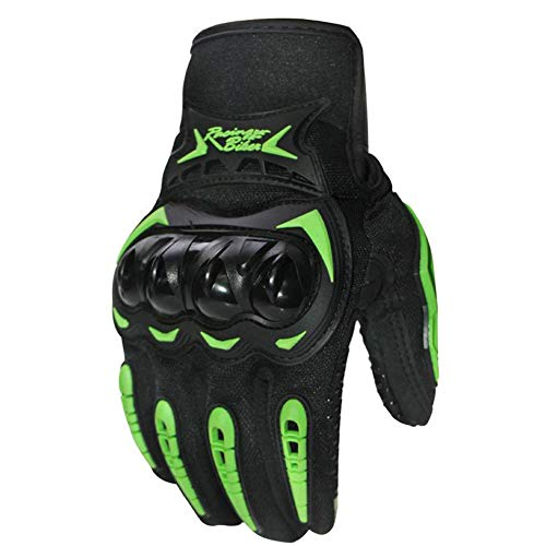 Rabusion Herren Motorradhandschuhe, modisch, Touchscreen-Design, Abriebfest, Leder M Touch Screen Green Green Touch Screen
