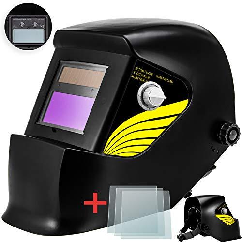 Masko® Automatik Schweißhelm + 3x Ersatzgläser   großes Sichtfeld   für alle gängigen Schweißtechniken - Schweißmaske Schweißschirm Solar Schweißschild Schutzhelm   gegen Funken, Strahlungen Black