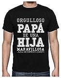Green Turtle T-Shirts Camiseta para Hombre - Orugulloso Papá de una Hija Maravillosa - Regalo para Papá Large Negro