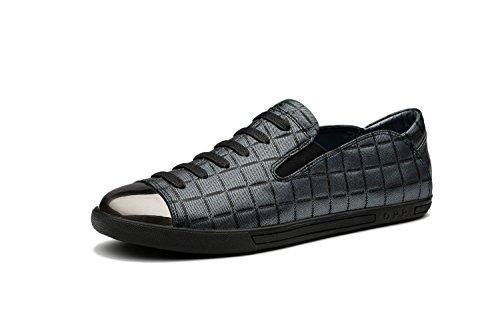Rétro Cuir Moccassins Basses Chaussures Homme Gris