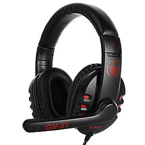 AUKEY Cuffie Gaming Headset Stereo 160°Girevole Microfono 3.5mm Doppie Interfacce Auricolare da Gioco Over Ear con Suono Surround Stereo e Cancellazione del Rumore - Rosso e Nero