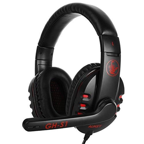 AUKEY Cuffie Gaming Auricolare da Gioco Over Ear a 3,5mm con Stereo Microfono Controllo da Filo per PC , Smartphone , Laptop , Ultrabook ecc.