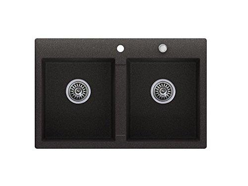 Granitspüle graphit, 2-Becken, Drehexcenter + Siphon, Spülbecken, Küchenspüle, Schrankbreite ab 80 cm