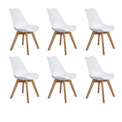 H.J WeDoo 6er Set Esszimmerstühle mit Massivholz Eiche Bein, Küchen stühle mit Gepolsterter für ESS und Wohnzimmer - Weiß