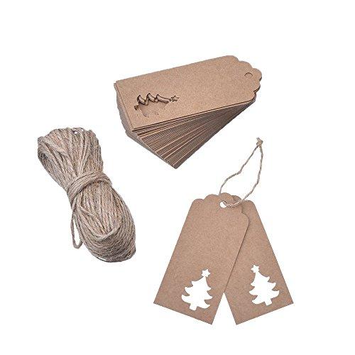 Trasfit 100pezzi carta kraft etichette regalo Hollow design albero di